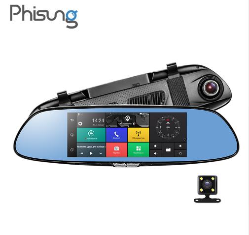 """CAMERA HÀNH TRÌNH CAO CẤP PHISUNG C08 3G MÀN GƯƠNG 7 """"ANDROID 5.0 GPS DVR XE VIDEO RECORDER BLUETOOTH WIFI DUAL LENS GƯƠNG CHIẾU HẬU DASH CAM"""